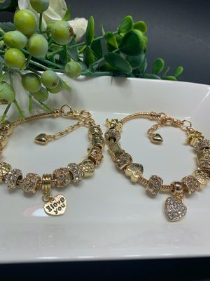 18K Gold Plated Austrian Crystal Rhinestone Star Love Heart Charm Bracelet, Each $11.99 for Sale in Los Angeles, CA