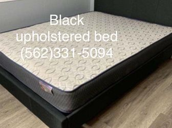 New Queen Black Upholstered Bed W/New Mattress Included for Sale in Stockton,  CA