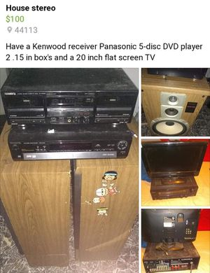 Kenwood receiver Kenwood tape deck Panasonic 5-disc DVD player and to stereo 15s for Sale in Cleveland, OH