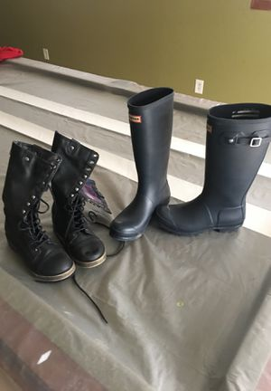 Girls size 6 Hunter rain boots and Madden Girl boots for Sale in Fallston, MD