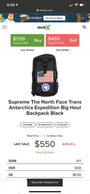 Supreme The North Face Trans Antarctica Expedition Big Haul Backpack Black for Sale in West Jordan, UT