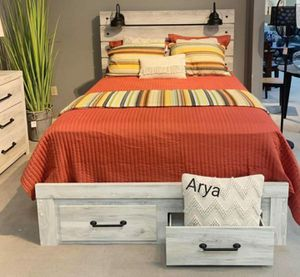 💯🆕Best Price$💫39 down payment.Cambeck Whitewash Footboard Storage Bedroom Set spcl for Sale in Columbia, MD