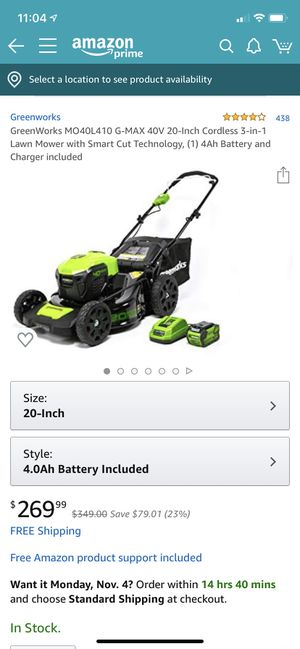 Greenworks Lawn Mower Cordless BRAND NEW IN BOX for Sale in San Francisco, CA