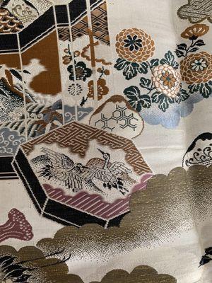 Chinese brocade fabric - herons, trees, houses, tassels - vintage for Sale in San Jose, CA