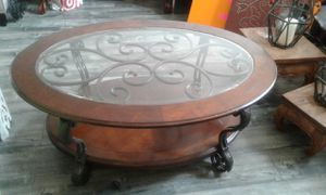 Coffee Table Solid Wood With Metal Frame Top Glass Like New for Sale in Walnut, CA