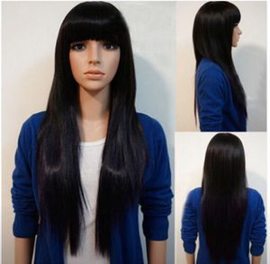 """Incredible Women's 26"""" Black Straight Layered With Bangs Hair Long Wigs for Sale in Arlington, VA"""