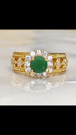 18k gold plated green Christmas ring size 6 jewelry accessory for Sale in Silver Spring, MD