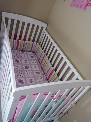 Baby crib and mattress. Baby girl crib bedding for Sale in Chesapeake, VA