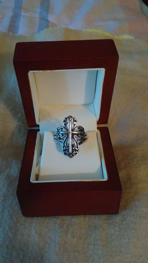 Silver rhodium plated cross ring. Size 7 for Sale in Richardson, TX