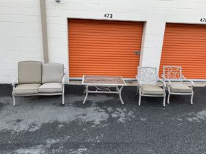 Hampton Bay patio set bench, 2 chairs, and a table w/ cushions OBO for Sale in Derwood, MD