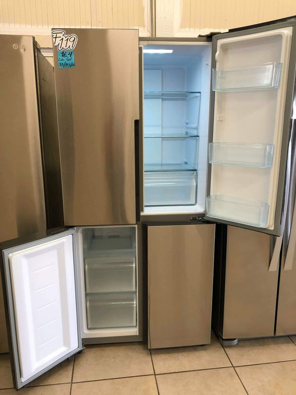 F 119 BEAUTIFUL REFRIGERATOR 4 DOORS SSTTEEL HAIER