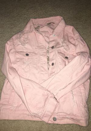 baby pink distressed denim jacket for Sale in Gaithersburg, MD