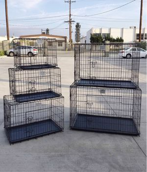 "New $25 to $65 range 24"" 30"" 36"" 42"" 48"" foldable 2 doors dog cage crate kennel collapsible jaula de perro for Sale in Los Angeles, CA"