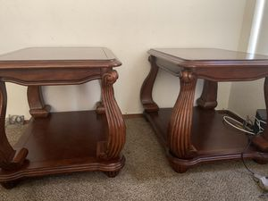 Side end tables solid oak wood for Sale in Tracy, CA