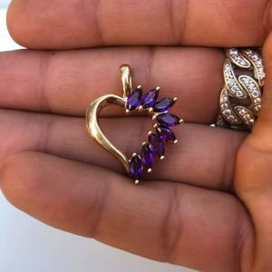 14k gold amethyst heart pendant for Sale in South Gate, CA