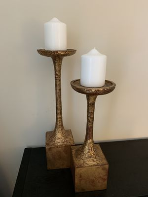 Solid metal gold candle holders for Sale in Arlington, VA