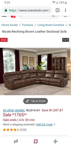 Brown Leather Sectional Couch $1700 for Sale in Murfreesboro, TN