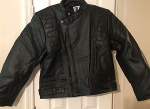 BLACK GENUINE LEATHER MOTORBIKE JACKET for Sale in Baltimore, MD