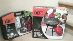 Postmaster bbq and 18 pc bbq tool set for Sale in Stockton, CA