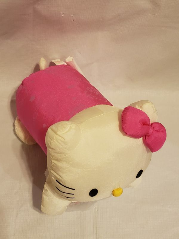 HELLO KITTY SILK PILLOW! HOT PINK WHITE KITTY FACE SUPER SOFT! ADORABLE!