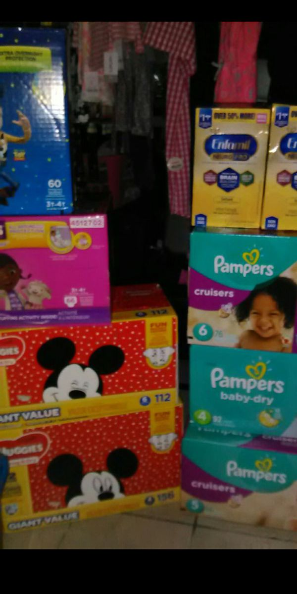 All sizes in huggies,pampers,luvs and a variety of enfamils (all colors) and also I have similac