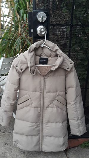 Parka Jacket. KOKASSO brand, look it up sells for $350.00, dark beige size Small, my daughter used it 3 times only last year, doesn't fit her anymore. for Sale in Huntington Park, CA