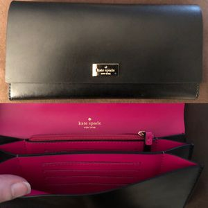 New KATE SPADE ♠️ Leather Wallet • Black Designer Clutch for Sale in Washington, DC