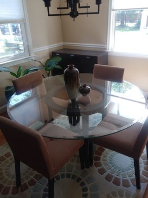 60in glass top dining room table chairs not included for Sale in Washington, DC