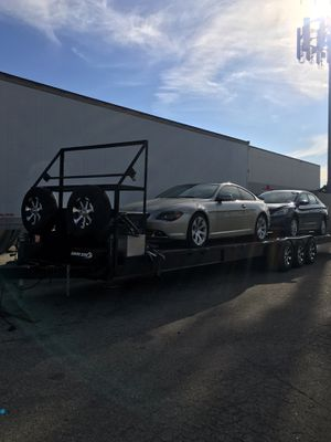 2CAR HAULER..FULLY EQUIPPED.., fuel tsnk, tool box, 2spare tires ,2sets of ramps ., comercial jack ,8 sets of straps for Sale in Downey, CA