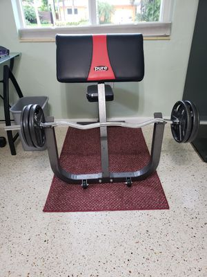 Power fitness preacher bench w/curl bar & weights for Sale in Hollywood, FL
