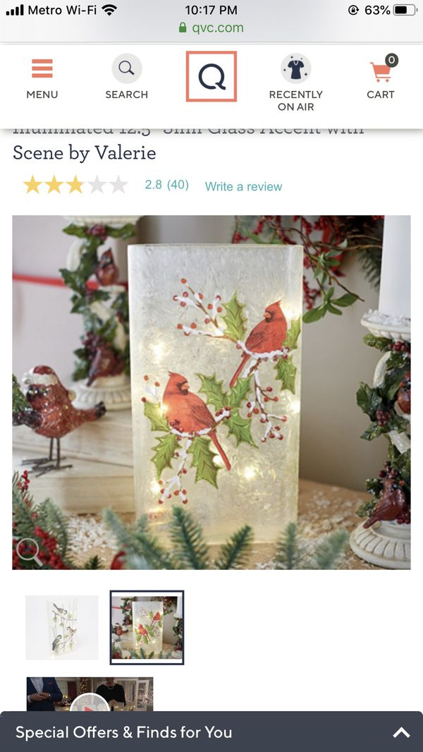 """Illuminated 12.5"""" Slim Glass Accent with Scene by Valerie Christmas"""