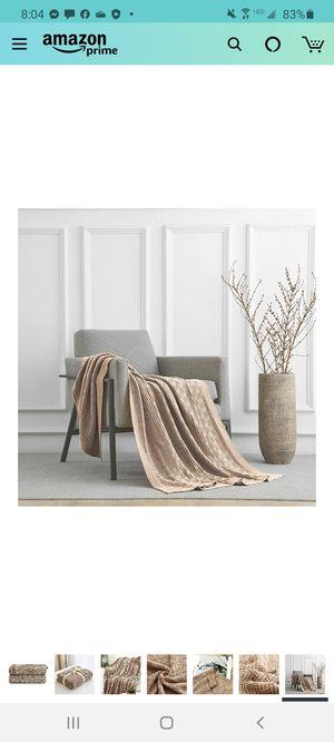 Longhui Khaki Cotton Knit Throw Blanket for Sale in Las Vegas, NV