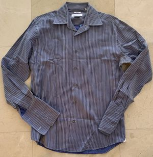 Versace Collection striped blue men dress button up shirt size 15.5 | 39 for Sale in Miami, FL