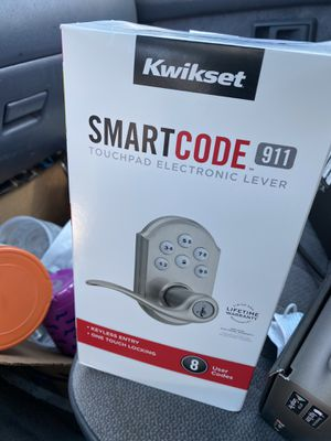 Kwikset Tustin Satin Nickel SmartCode Electronic Entry Door Lever Featuring SmartKey Security for Sale in Imperial Beach, CA