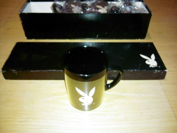 PLAYBOY * SET OF 4 COFFEE MUGS PLASTIC HOT COLD CUPS