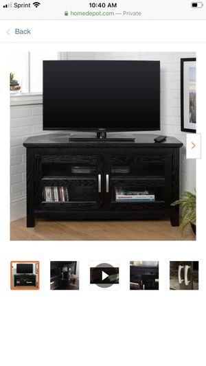 "44"" Transitional Wood Corner TV Stand Entertainment Center - Black for Sale in Norfolk, VA"