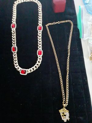 30 inch gold plated link chain dipped in 14kt gold with large cz gold plated jesus head . Nice piece. 80 obo for Sale in Mechanicsburg, PA