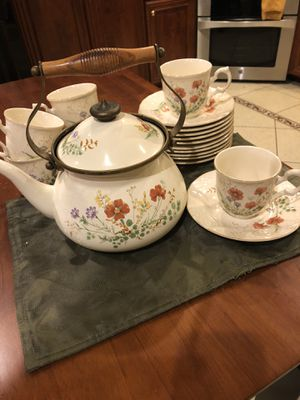Mikasa Tea Kettle & 6 Cup/Saucer sets for Sale in Waynesburg, PA