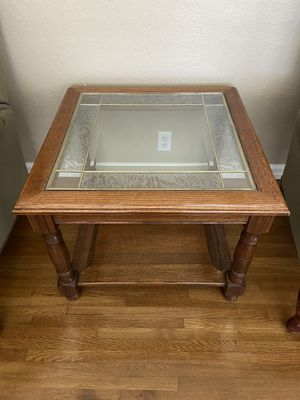 3 solid oak glass inlaid end tables for Sale in El Monte, CA