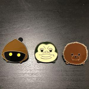 Star Wars Disney pins Tsum Tsum Chewbacca Jabba the Hutt Jawa for Sale in Carson, CA