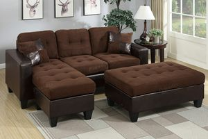 Chocolate microfiber sofa sectional couch for Sale in Downey, CA