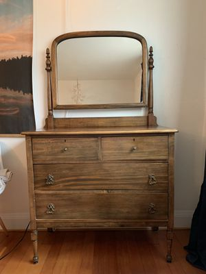 Antique 4 Drawer Dresser with Mirror for Sale in Portland, OR