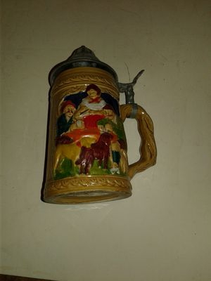 Ceramic stein with metal lid for Sale in Waltham, MA