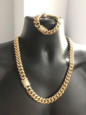 Miami Cuban 🇨🇺 Link SET Chain & Bracelet Diamond Box Clasp for Sale in Edgewater, NJ