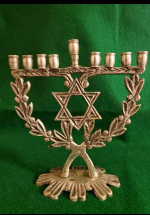 "ISRAEL--9 CANDLES BRASS HANUKA MENORAH, 6"" x 7"". for Sale in Miami, FL"