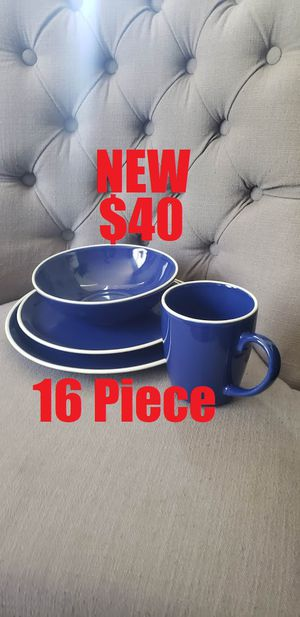 NEW 16-piece dinnerware set Plates bowls mugs cups Blue Stoneware - dishwasher/ microwave safe for Sale in Ventura, CA