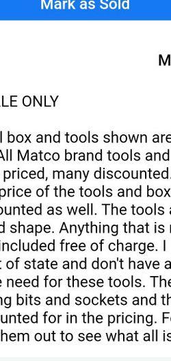 Matco Toolbox Set for Sale in Washington,  IL