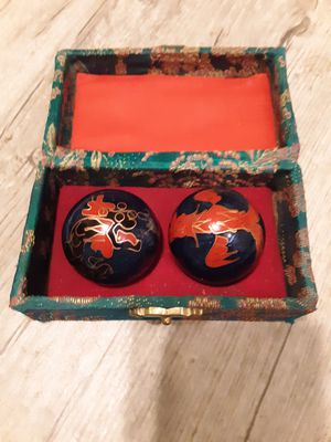 Two Feng Shui Chiming Chinese Boading Medicine Stress Balls with Embroidered Splendid Jade Case/ Cloissonne Blue Dragon & Phoenix Design for Sale in Saint Charles, MO