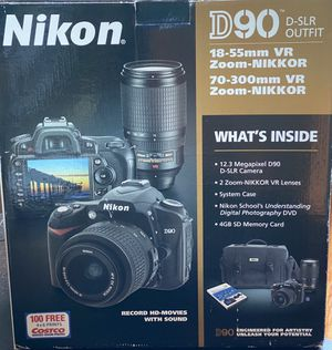 Nikon D90 D-SLR camera with 3 lenses and all original parts and books for Sale in Bellevue, WA