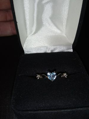 $40-Sterling Silver blue diamond hoop earrings ..and a sterling silver ring with blue heart size 8 $40 for Sale in Stickney, IL